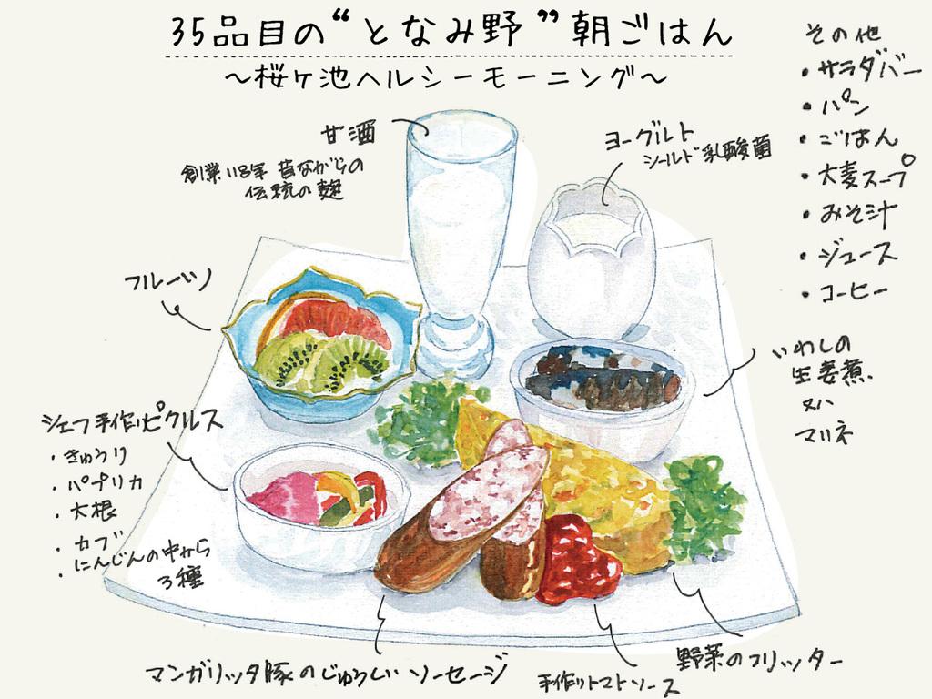 """35品目の""""となみ野""""朝ごはん 〜桜ヶ池ヘルシーモーニング〜 新鮮な地元野菜に卵料理、富山のごはん、ヘルシーなスープやド"""