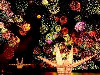 きほく燈籠祭(大燈籠と花火)