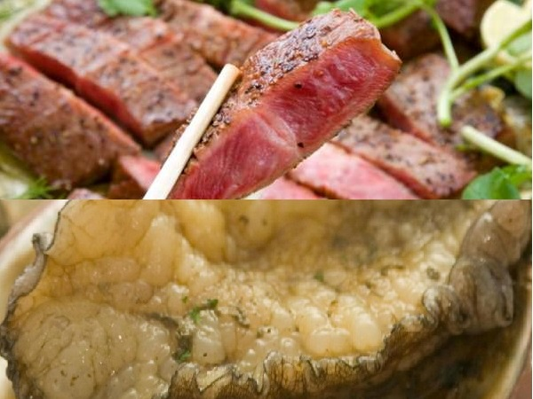新鮮アワビ&長崎県産牛ステーキ