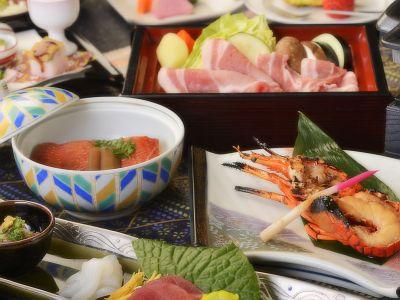 伊勢海老・金目鯛・とこ豚ポーク、味の競演をお楽しみ下さい。