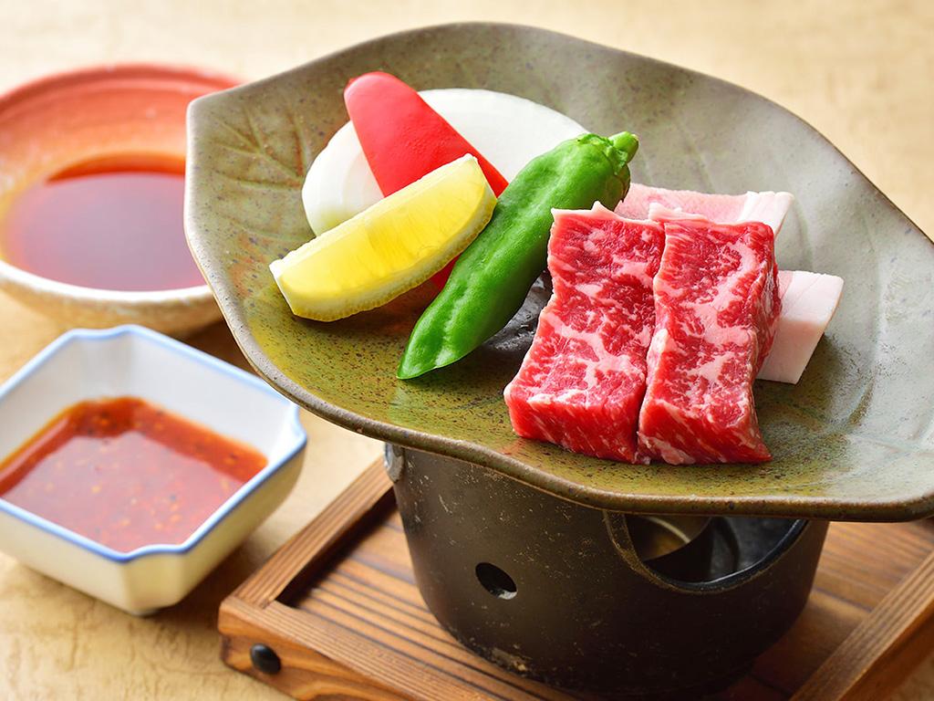 上州牛ともち豚の陶板焼き