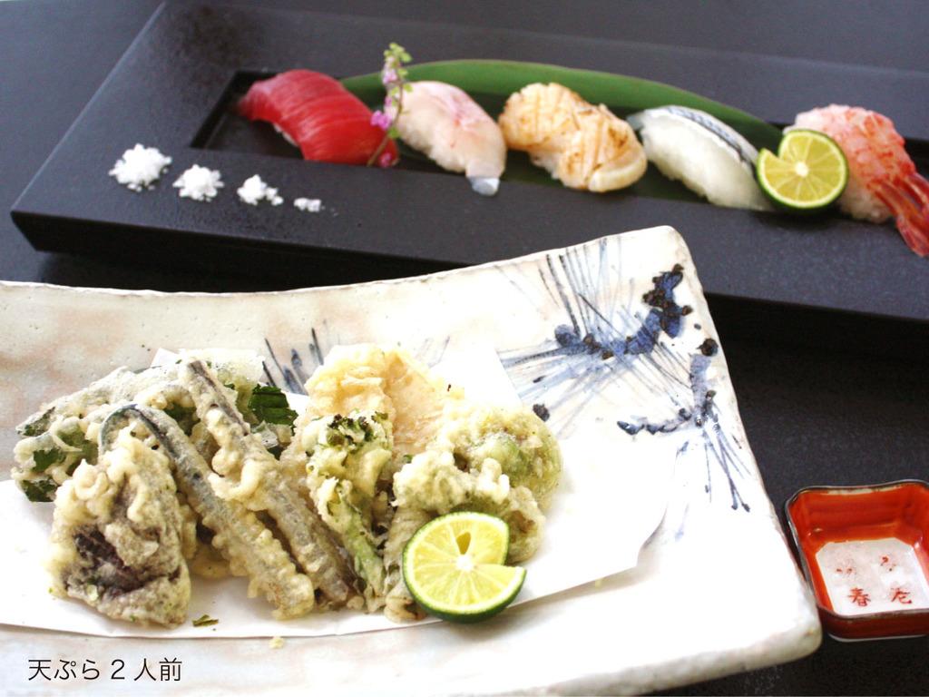 春山菜や加賀野菜などの天ぷらと、日本海の旬魚がネタのお寿司で、春の季節をお楽しみください