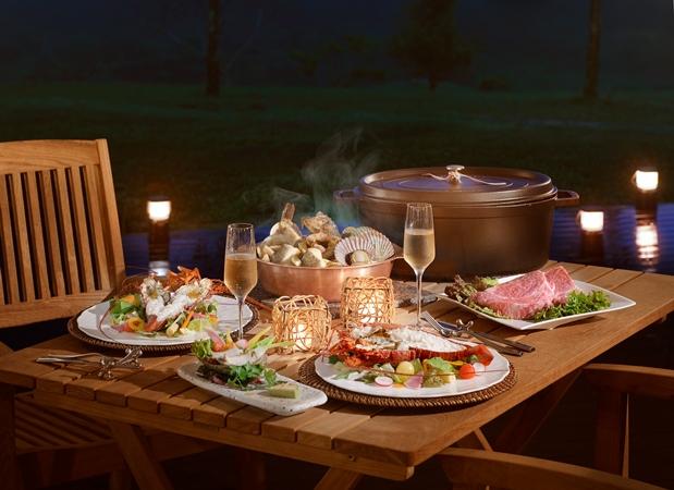 【ご夕食】本格コース料理を堪能「グランピングディナー」