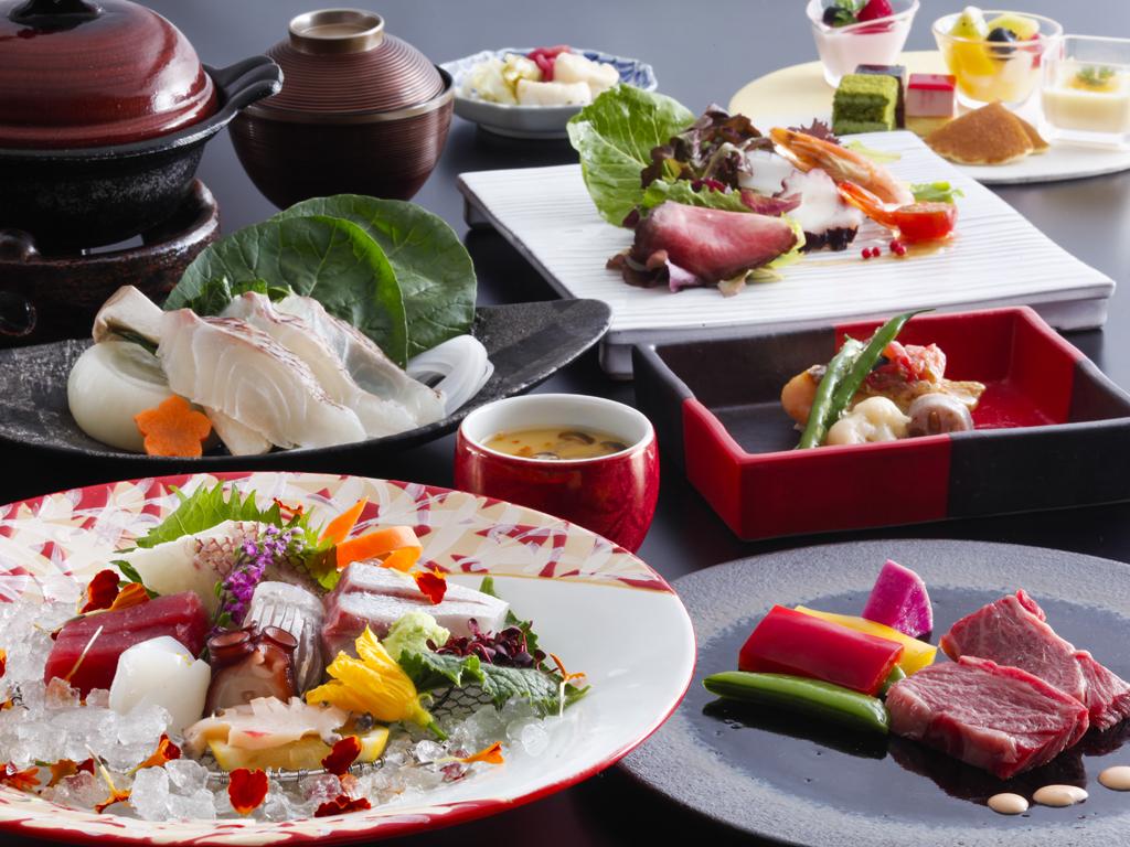 紅葉鯛と淡路牛ステーキを味わう創作会席(料理イメージ)