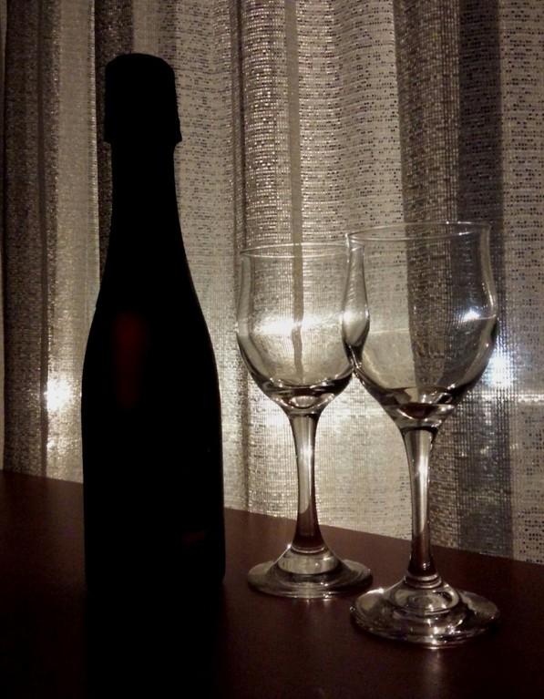 夕食時のスパークリングワイン