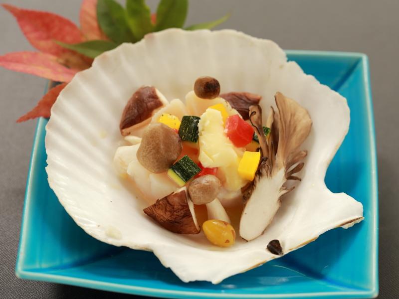 帆立の貝焼き 秋野菜
