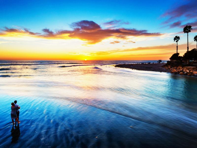 西海岸に沈む美しい夕陽