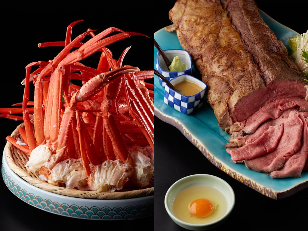 ローストビーフと蟹をおなか一杯食べよう!