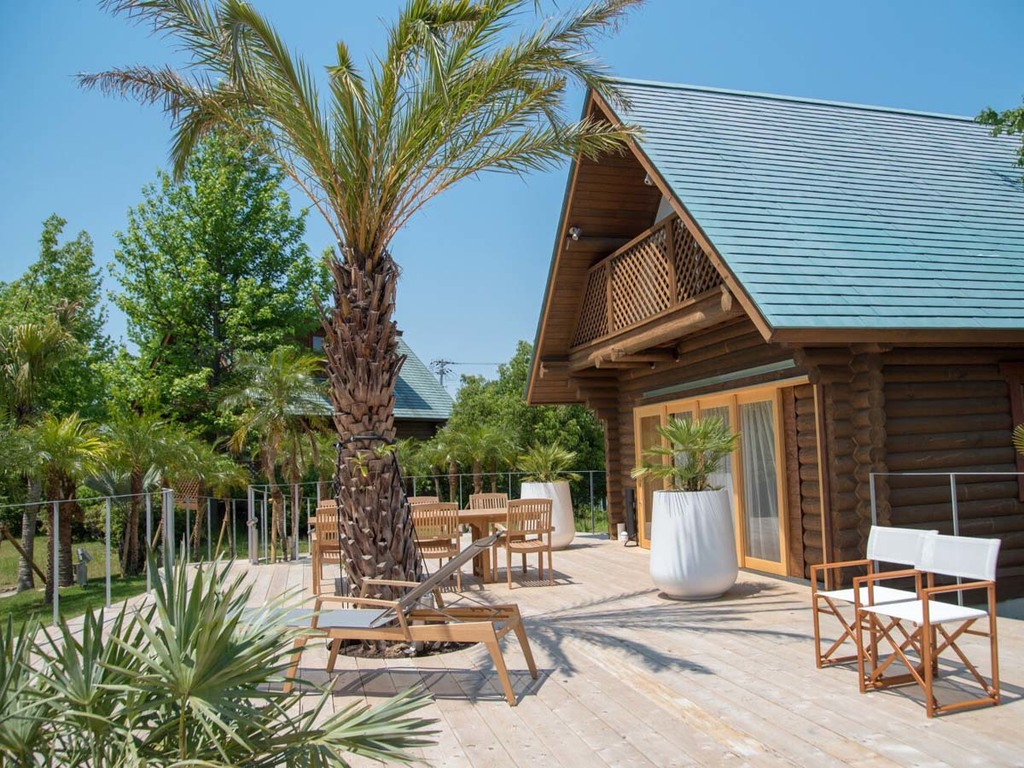"""【ログハウス A-type """"Palm Terrace""""】ヤシの木に囲まれ、南国のリゾートのよう。"""