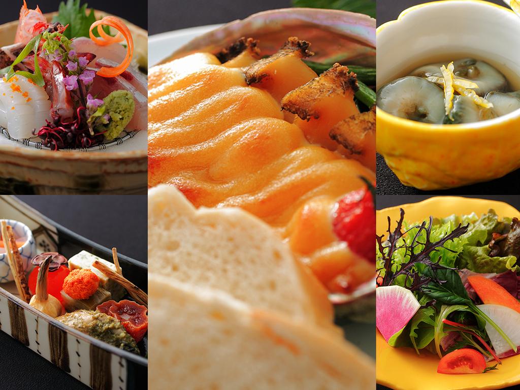 """【基本料理-雅膳-】当館は、素材本来の味を""""意外性に満ちた逸品""""へと仕上げます"""