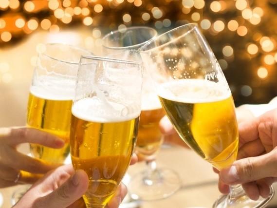 缶ビールで乾杯!