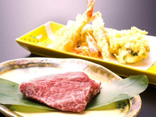 ステーキと天ぷら盛り