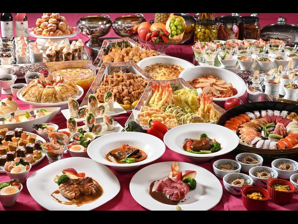 《選べるメイン一品&約40種の食べ放題ビュッフェメニュー》