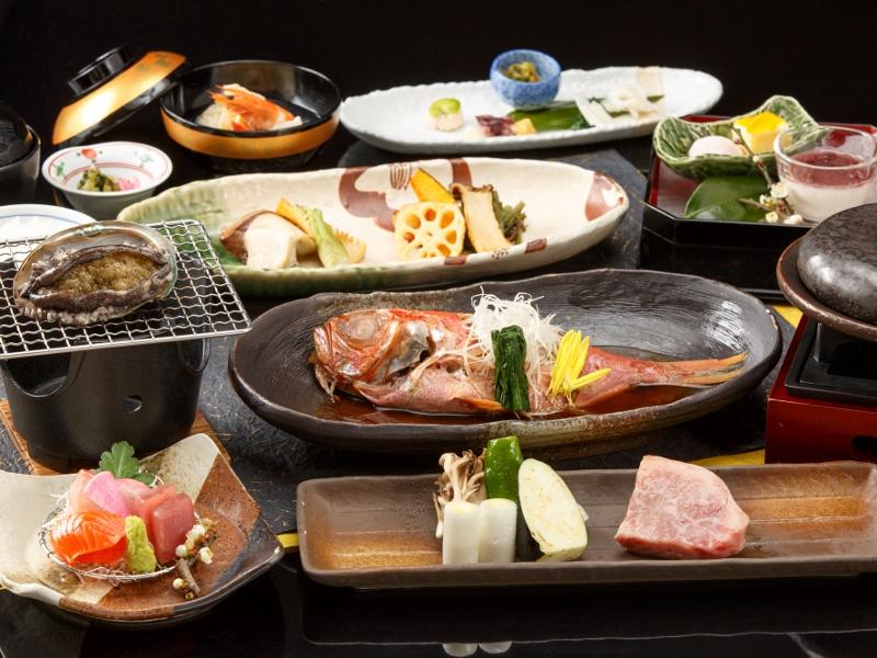 豪華3大味覚「鮑・金目鯛・飛騨牛」使用の和食会席