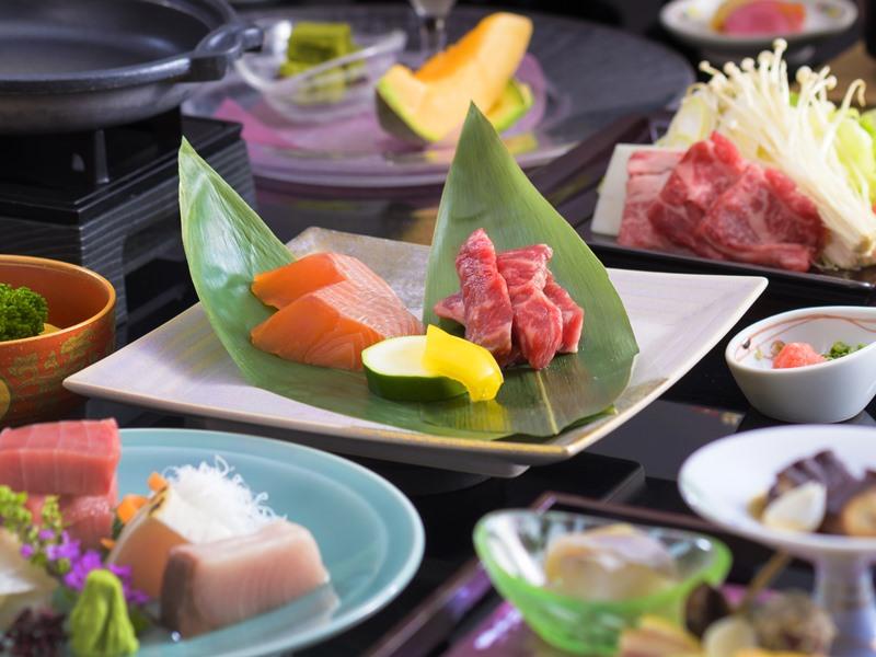 特選和食「赤岳会席」一例。料理長特選国産牛フィレ肉と季節の食材を使用した和会席