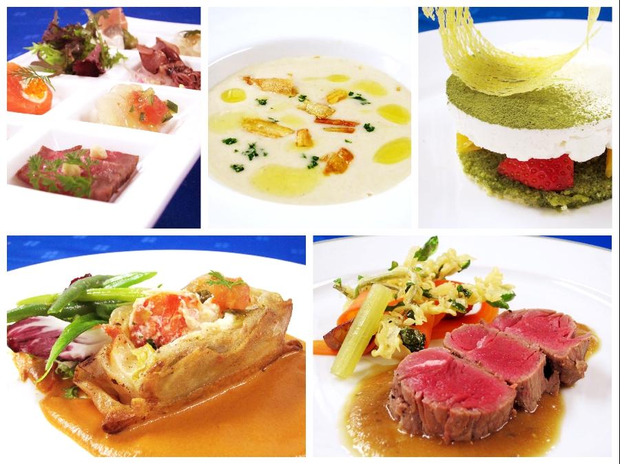 料理イメージ(左上:アミューズ、右上:オードヴル、左下:魚料理、右下:肉料理)