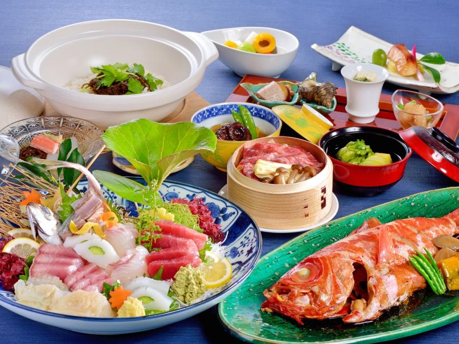 和食料理イメージ(金目鯛と刺身は2名様盛り込みです)
