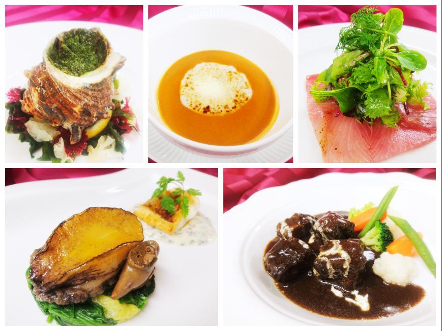 黄金料理(上段左:アミューズ、上段中:スープ、上段右:オードヴル、下段左:魚料理、下段右:肉料理)