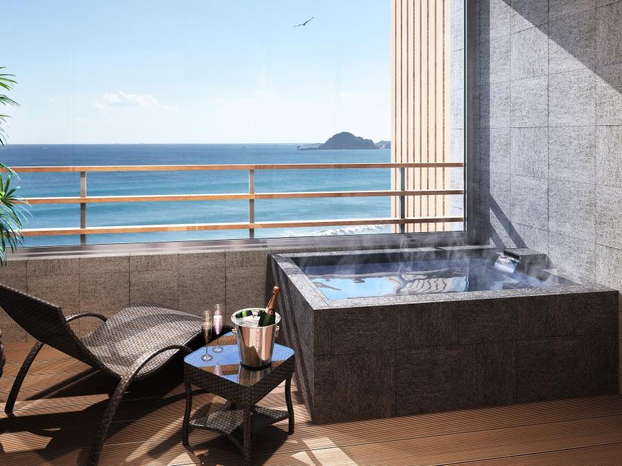 プレミアムフロア「ラグジュアリースイート」の客室に備付けの露天風呂 ベッドチェア付き