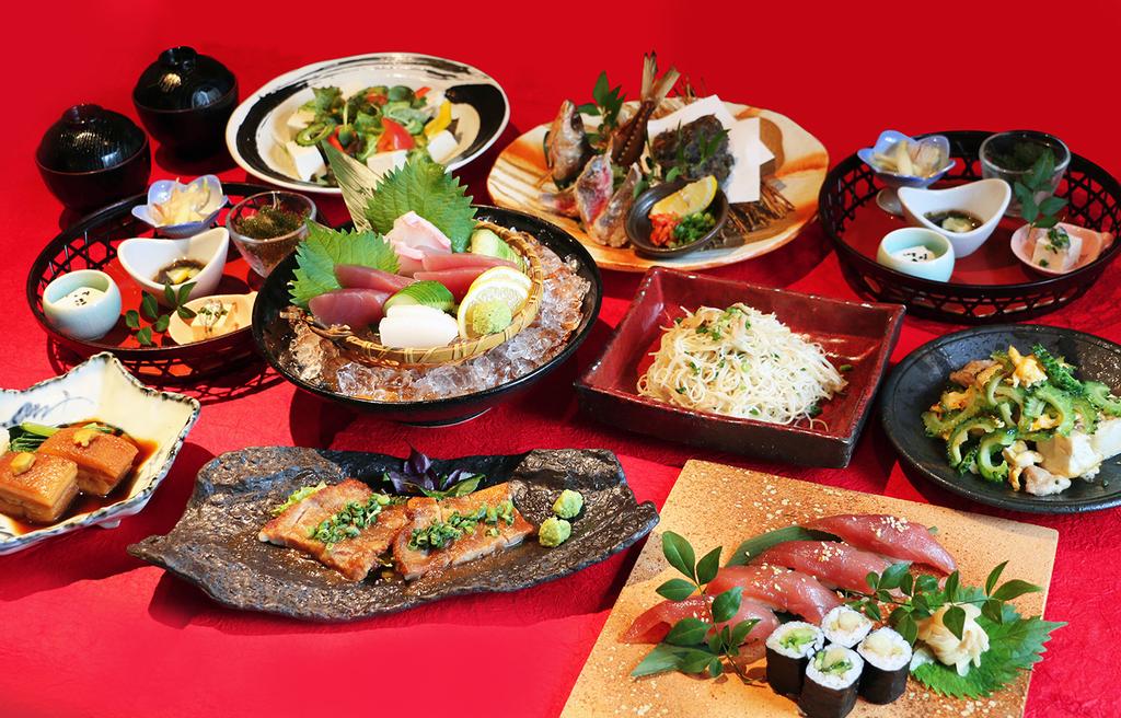 「海のちんぼらぁ」「あうん」夕食メニュー琉球料理