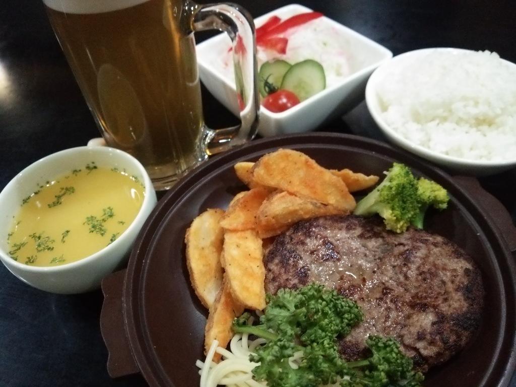 夕食一例(ハンバーグ定食)