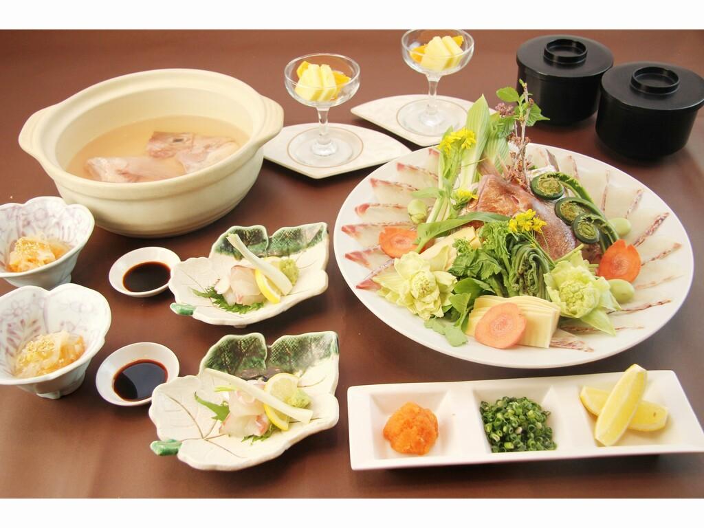 桜鯛と春野菜しゃぶしゃぶ