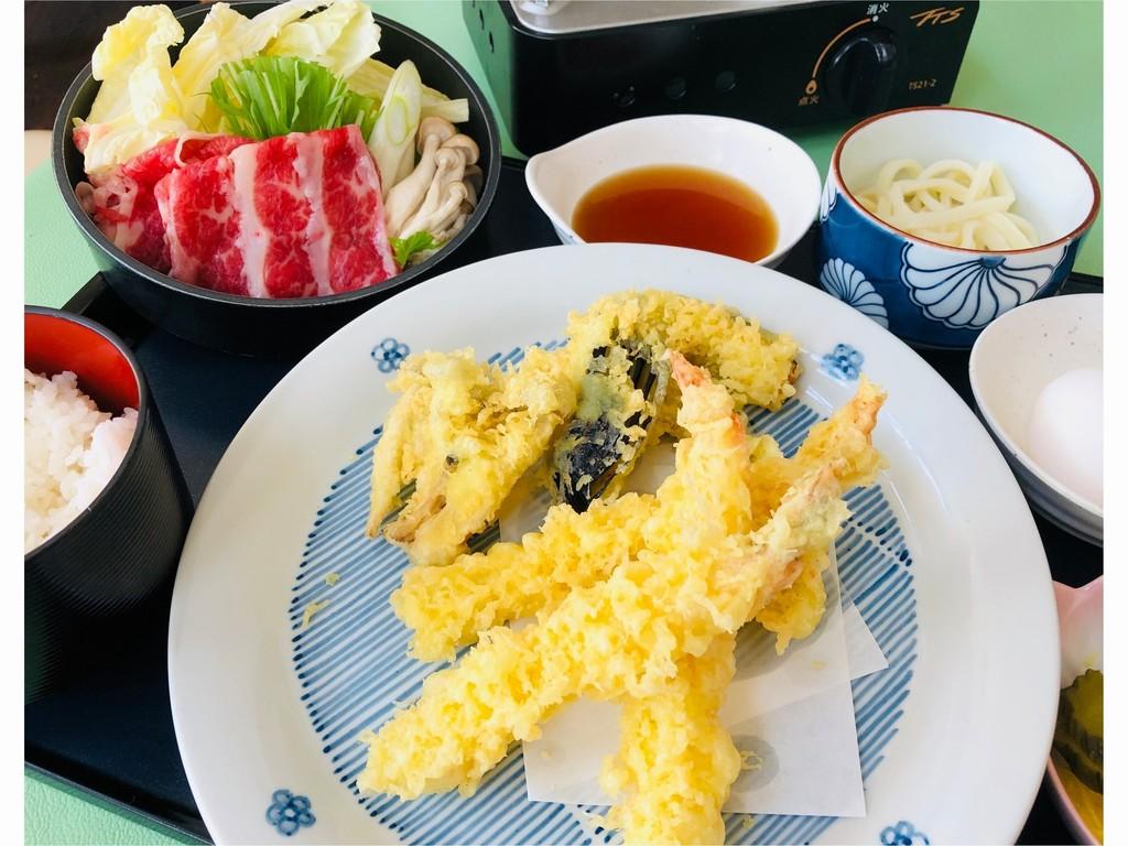道産牛すき焼き&揚げたて天ぷらセット