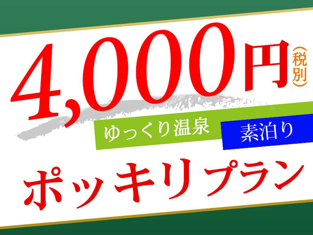 1名様でもOK。4,000円(税別)ポッキリ 素泊りプラン