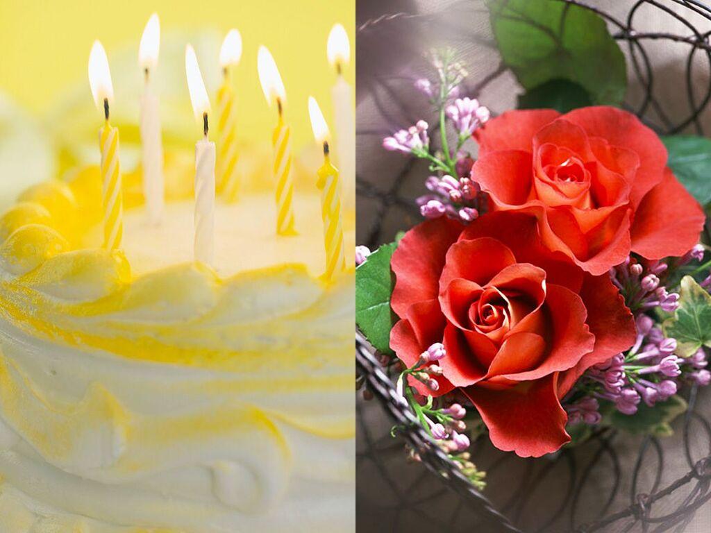 【アニバーサリープラン】ホールケーキ&ミニ花かごイメージ