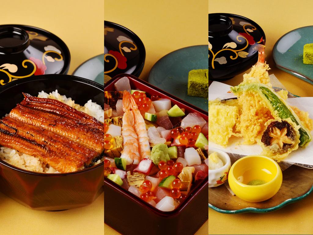 昼食のご案内 (1)鰻丼 (2)華ちらし御膳 (3)天婦羅御膳