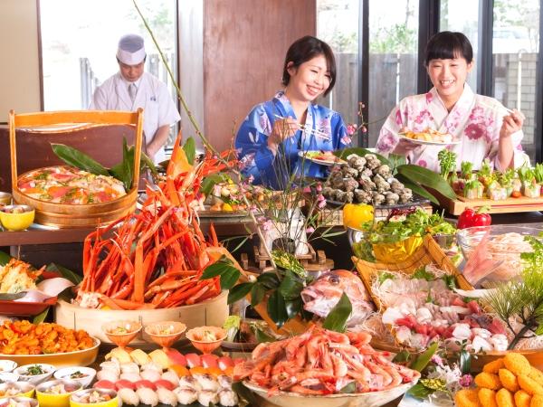 """紅蟹・マグロ・サザエなど食べ放題""""海鮮かぶりつきビュッフェ""""[一例]"""