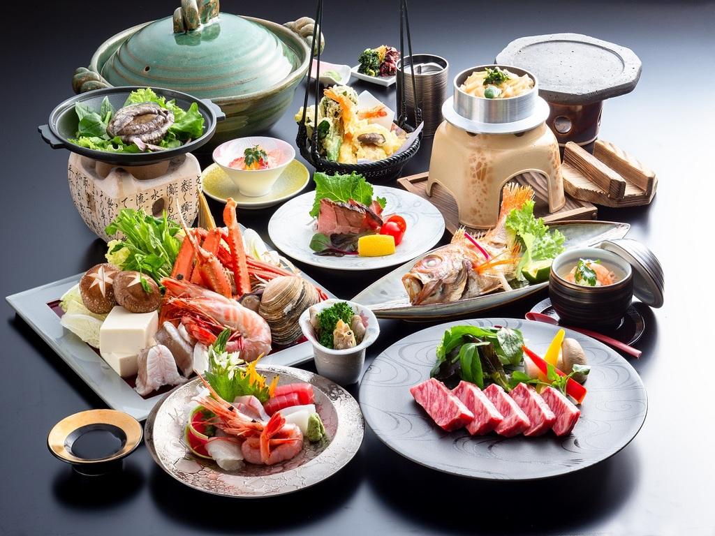 海鮮盛りだくさんの丹後乙姫会席+黒毛和牛ステーキ付き【一例】