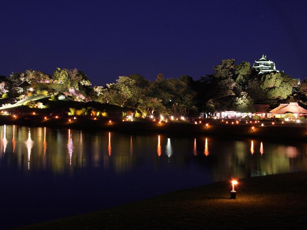 日本三大名園・岡山後楽園のライトアップ♪