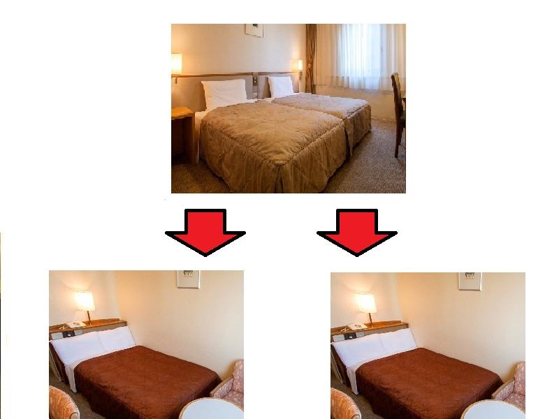 ツインではなくシングル2部屋となります。