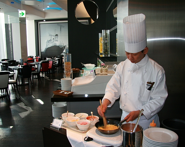 Omelets are cooked by our chefs right before your eyes.