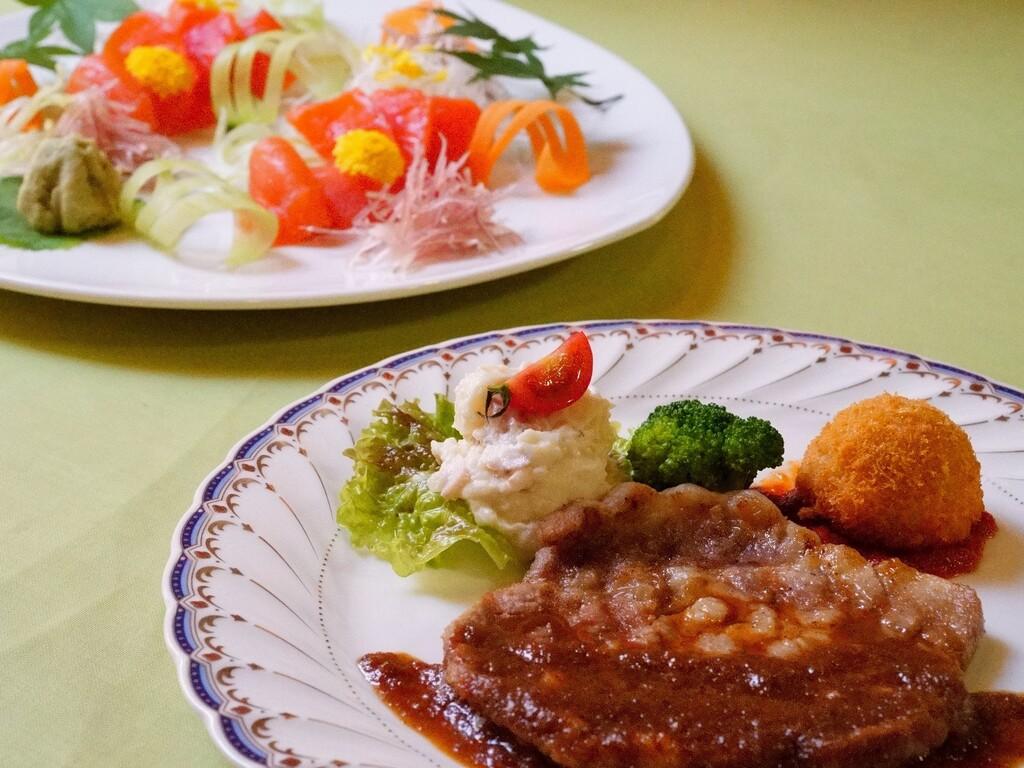 地元産ギンヒカリのお刺身&十文字豚のポークソテー