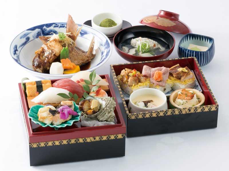 日本料理「さくら」新緑の旬祭箱 海幸・山幸寿司と鯛のあら焚き