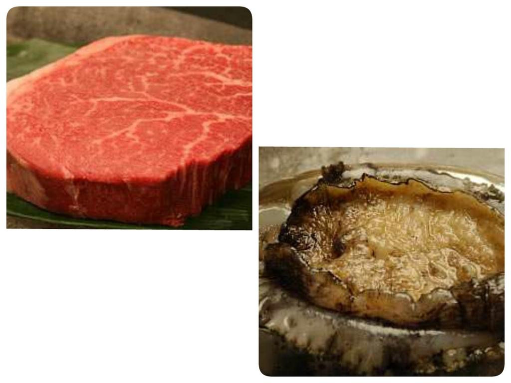 刺しが綺麗に入った厚切りの黒毛和牛のステーキ(約120g)又は新鮮なアワビのステーキからチョイス。