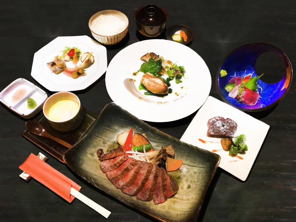 沼津のお魚と黒毛和牛サーロイン炭火焼ステーキのコース