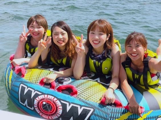 【琵琶湖オーパル】ウォータートイ体験!定番のデッキ型チューブ