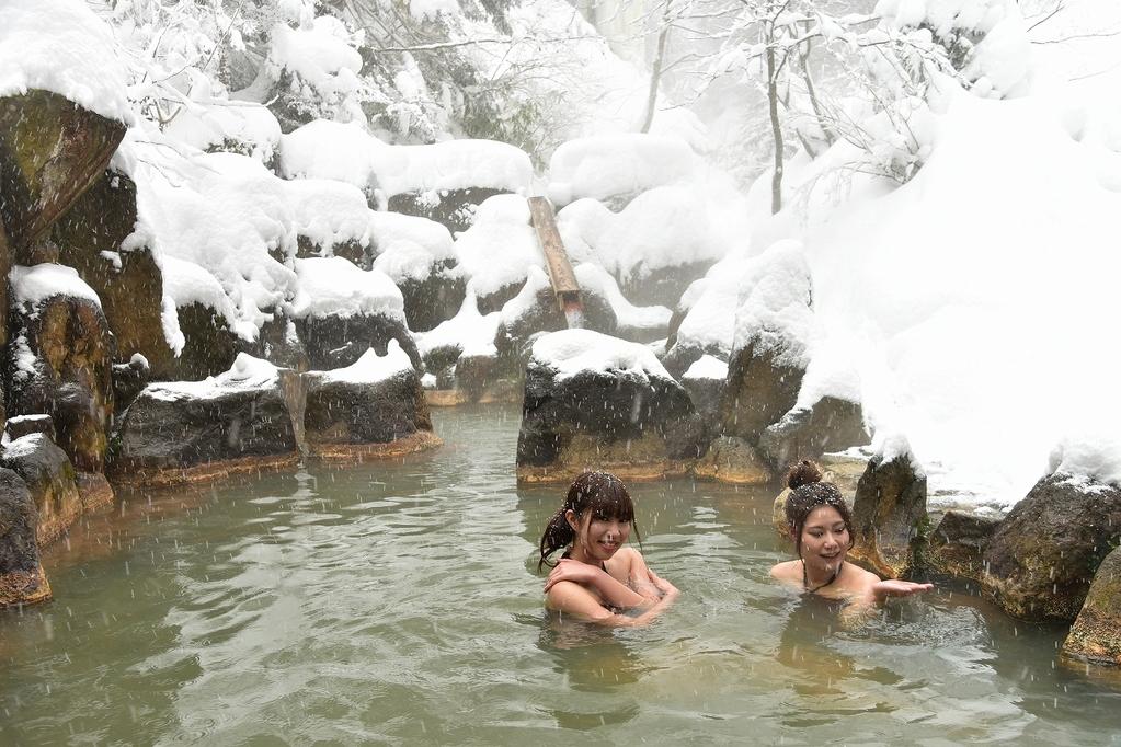 混浴の渓谷露天風呂(冬)