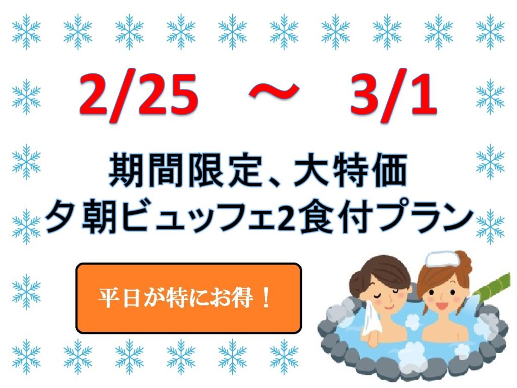 2/25〜3/1 期間限定プラン
