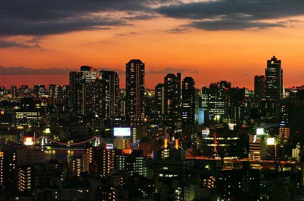 西側(新宿方面)客室からの眺め(夕景)