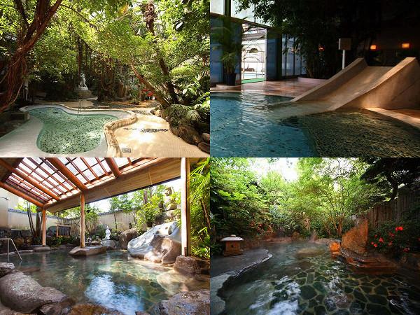 名物「ジャングル風呂」や「かっぱの湯」など個性的な風呂