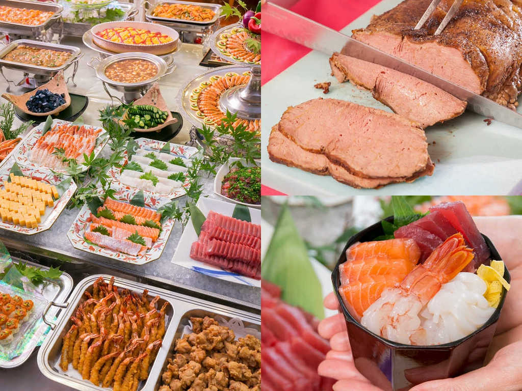 ロングセラーのローストビーフ、新鮮勝手丼、60種の豪華源泉バイキング