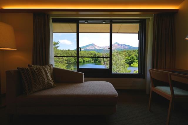 客室から望む磐梯山の絶景