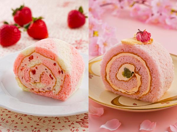 ◇2月は苺クリームのロールケーキ、3-4月は米粉桜のロールケーキ(イメージ)