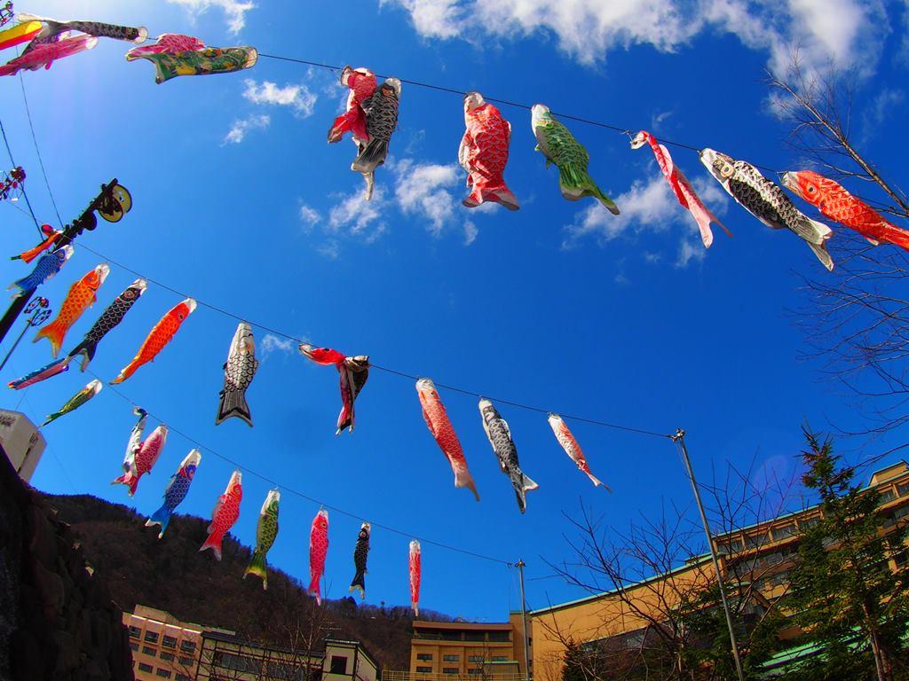 定山渓温泉に春を告げる「渓流鯉のぼり」。大小400匹の鯉が泳ぐ姿は圧巻です。