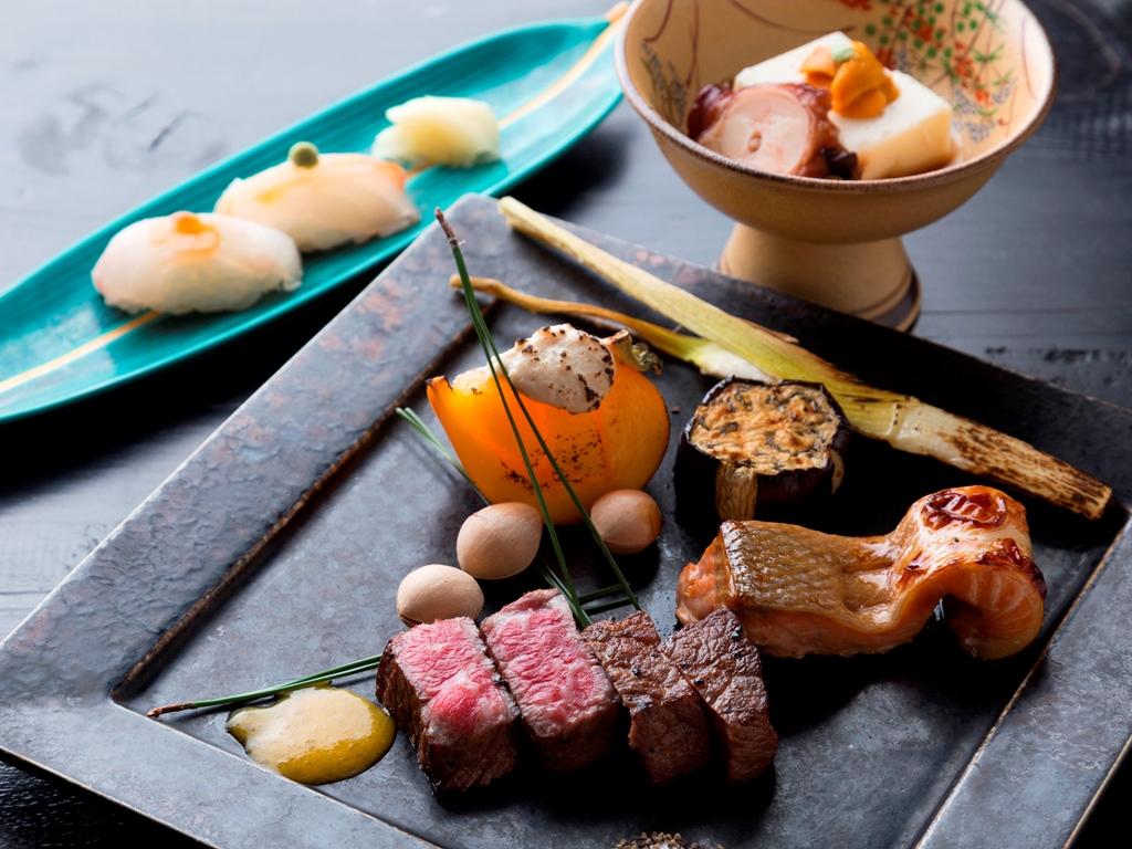 【翠山御膳/お料理一例】旬の味覚をふんだんに使用し、彩りや盛り付けにも工夫を凝らします。