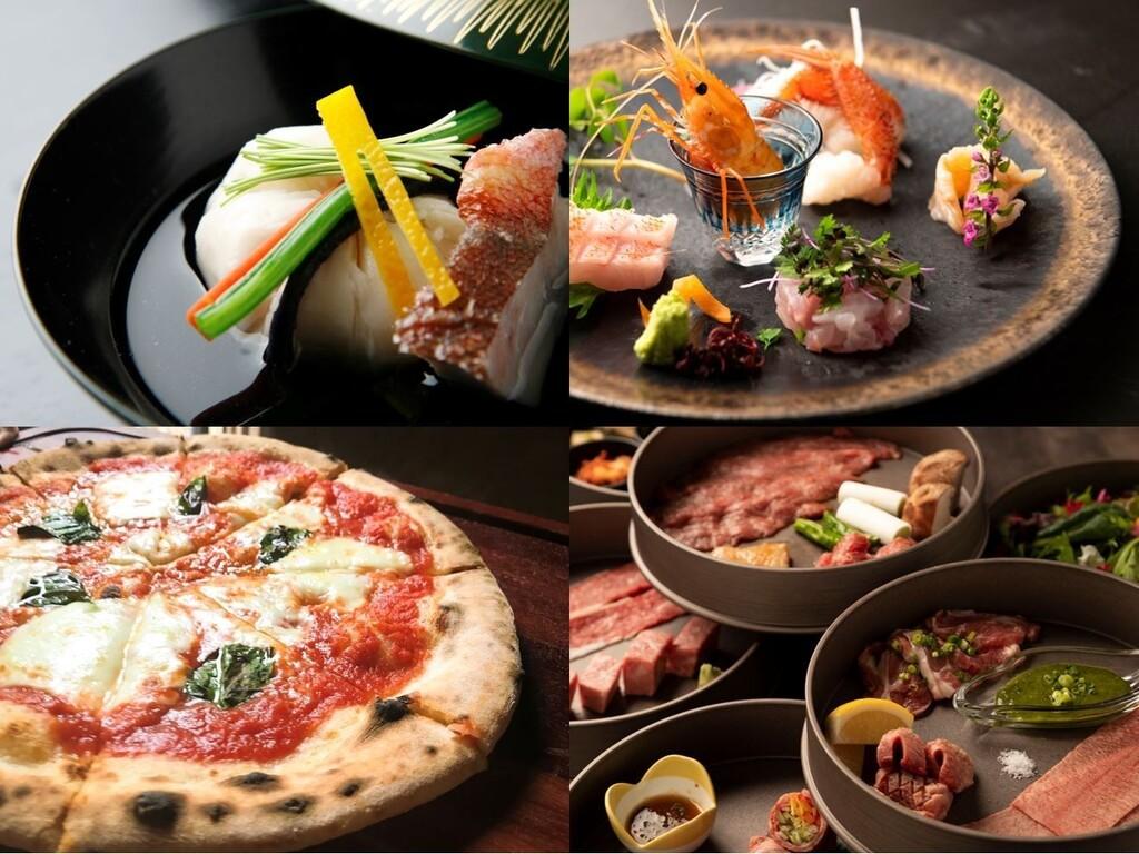 ご夕食オプションは、季節の和食膳や焼肉コース、ピザなど、多彩なメニューをお選びいただけます。